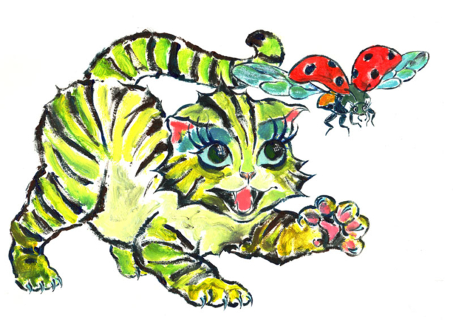 Cat with ladybug. Illustration by Daniel Petrov.