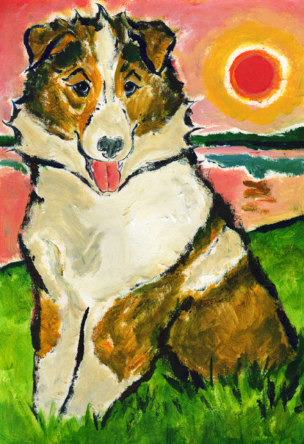 Collie dog at sunset. Illustration by Daniel Petrov