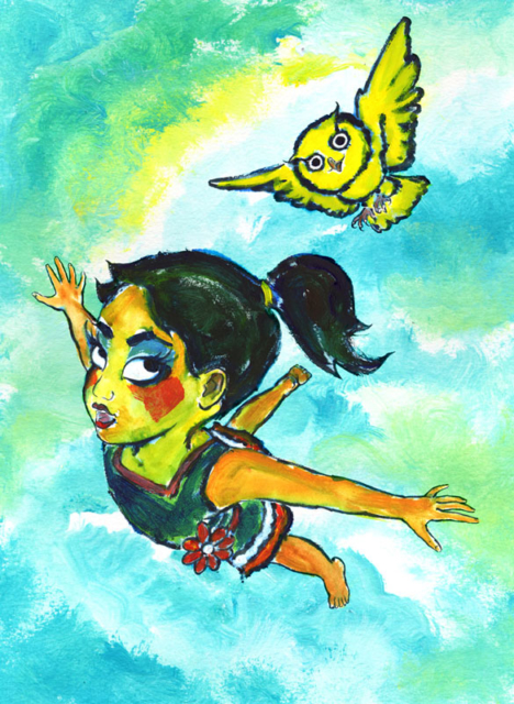 girl and owl flying