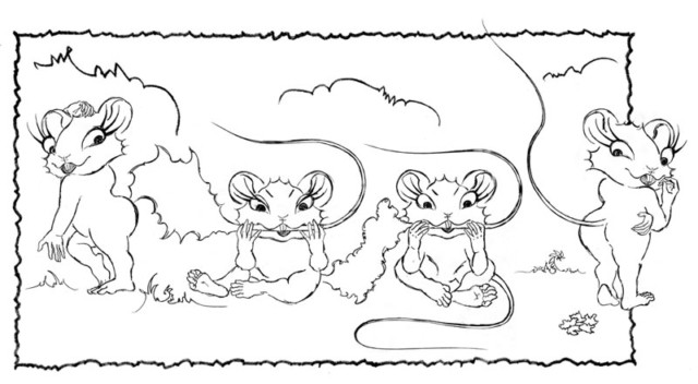 Mice gnawing on their tails. Sketch by Daniel Petrov.