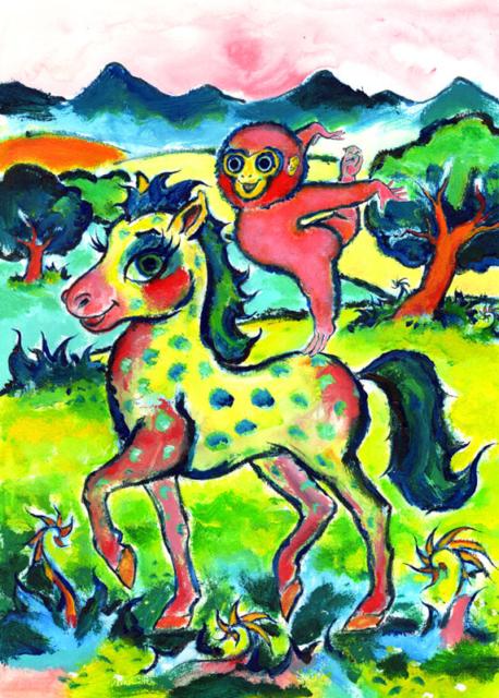 monkey on a horse