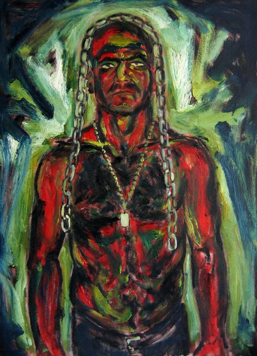 red man with chain by Daniel Petrov