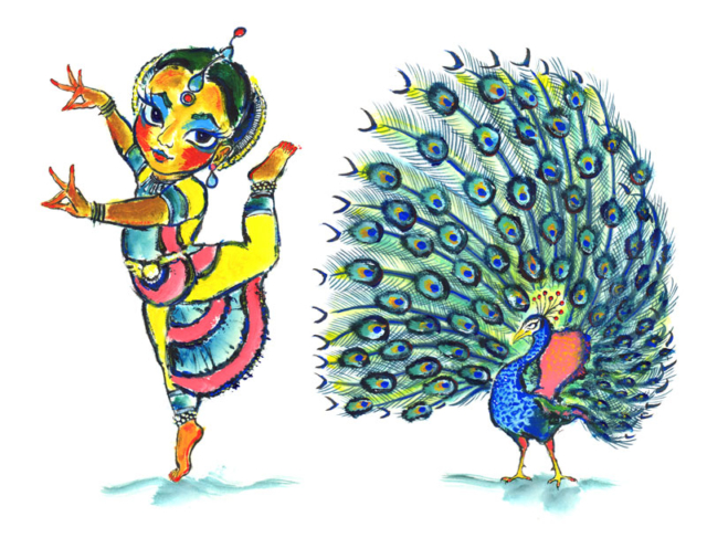 Classical Indian dancer with peacock by Daniel Petrov