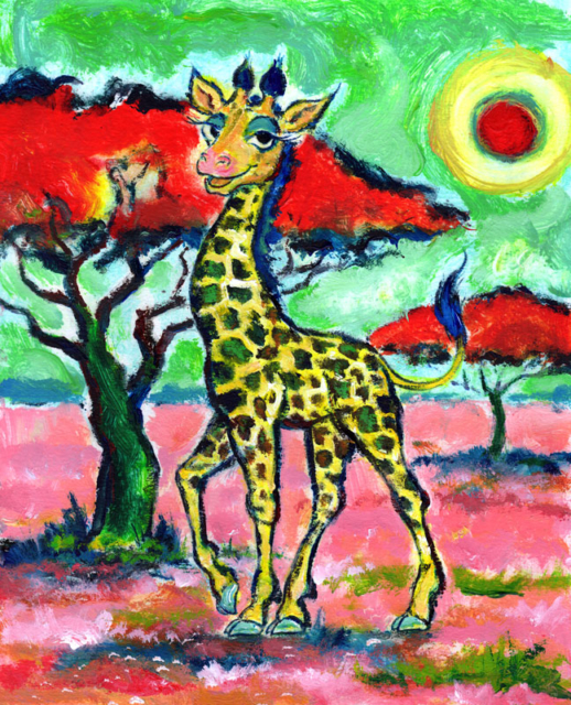 Giraffe in pink savanna by Daniel Petrov