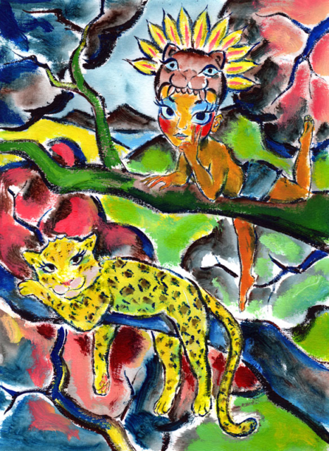Mayan jungle boy with jaguar mask. Illustration by Daniel Petrov.