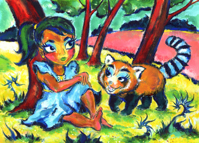 Girl with red panda by Daniel Petrov